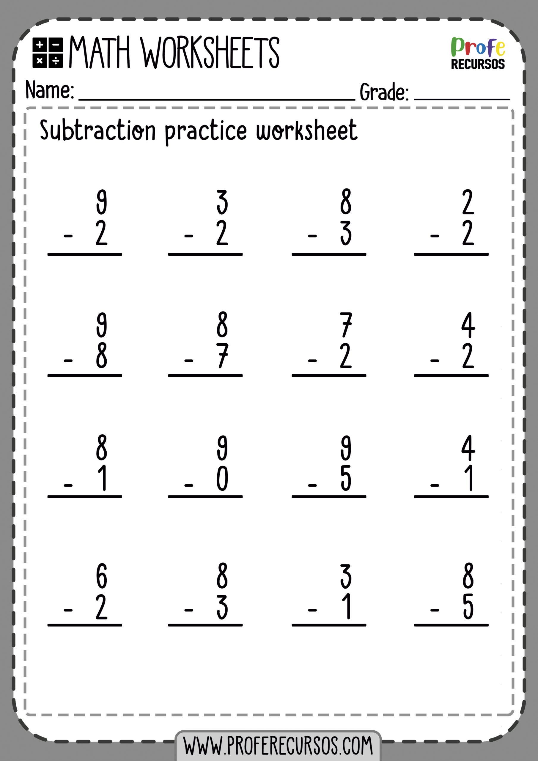 1 Digit Subtraction Worksheets