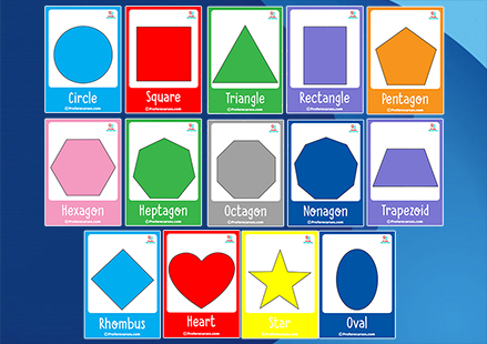 2d shapes flashcards for kids