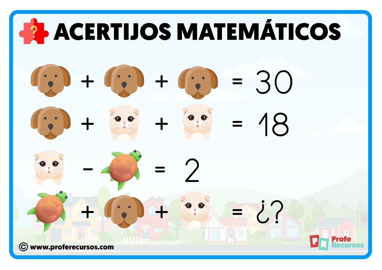 Acertijos matematicos para niños