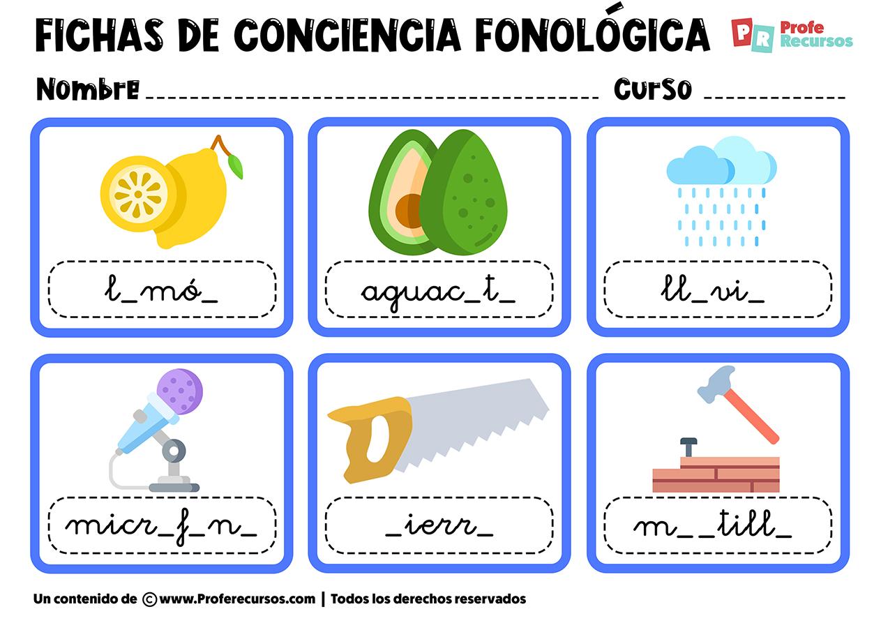 Actividades de conciencia fonologica para imprimir