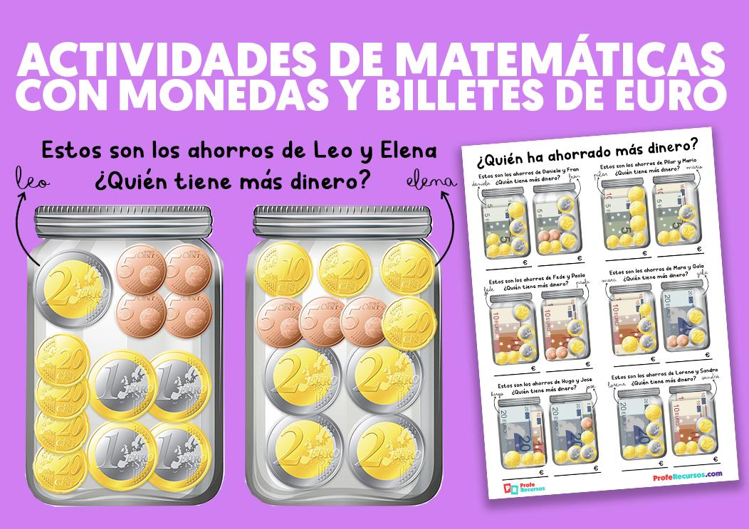 Actividades de matematicas con moneds y billetes de euro
