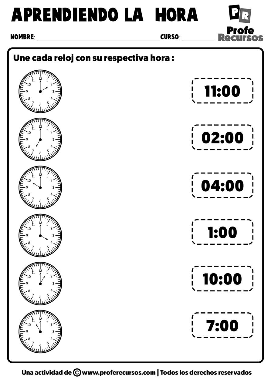 Actividades para aprender la hora