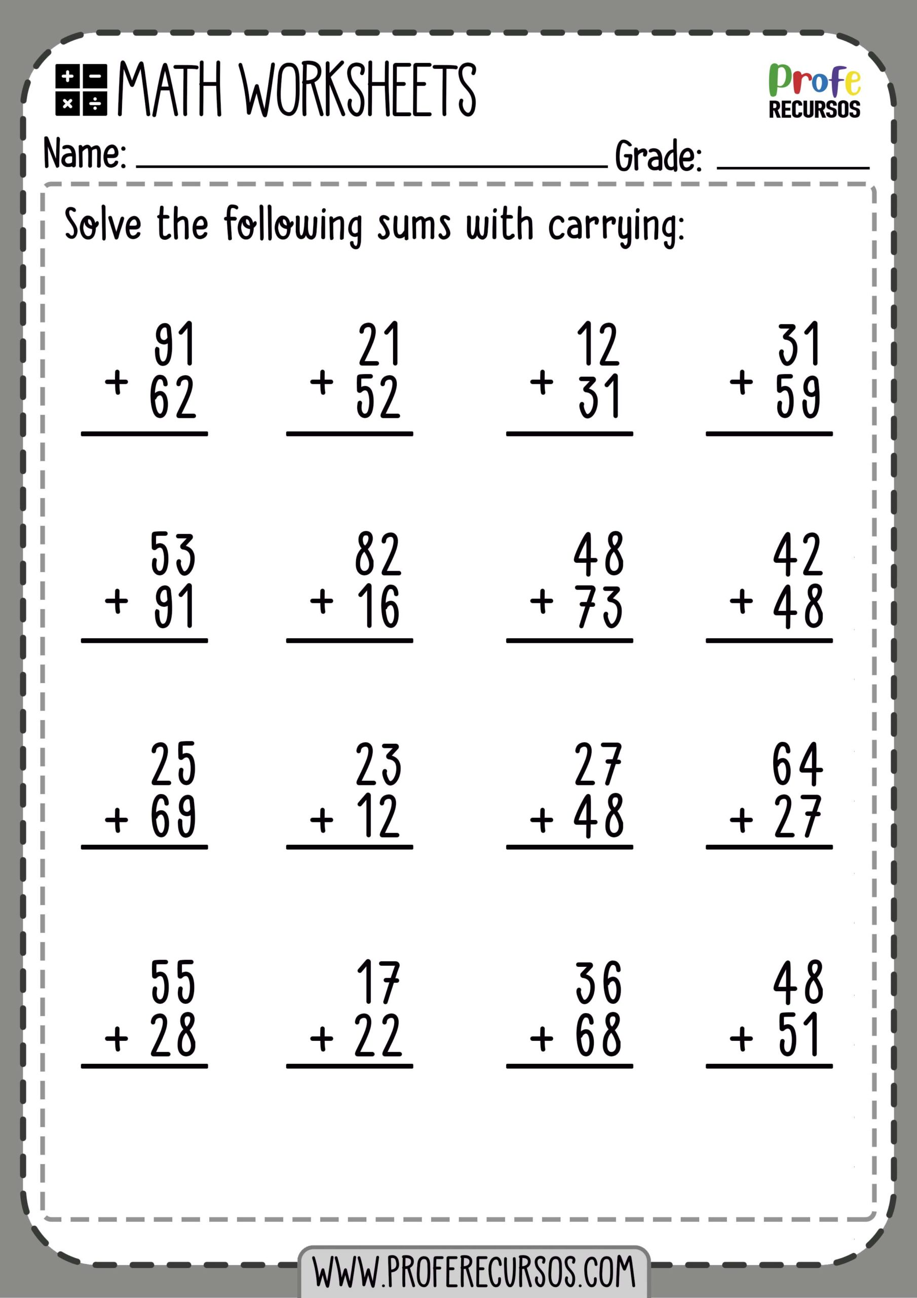 2-Digit Addition with Carrying | Math Worksheets