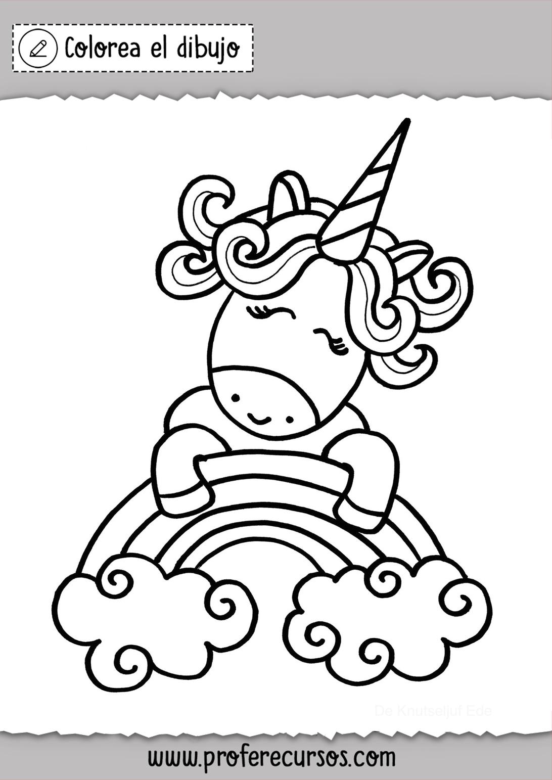 Bonito Unicornio Dibujo para Colorear