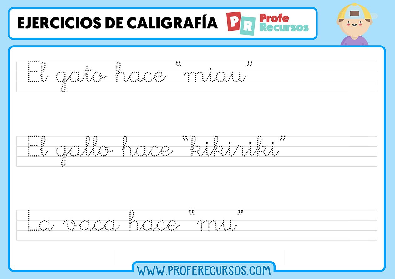 Caligrafia de frases para niños
