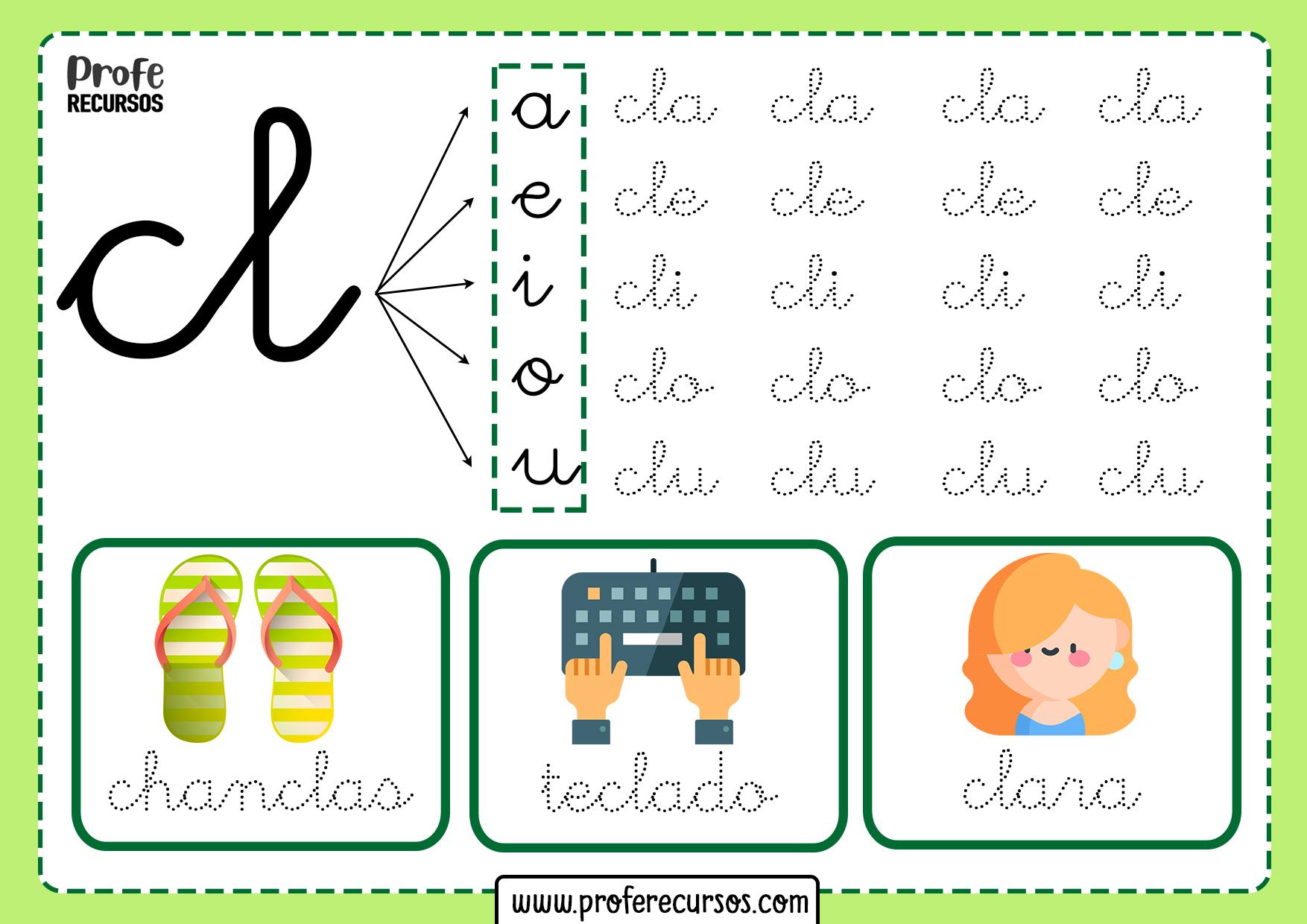 Cl silabas trabadas palabras trabadas con cl