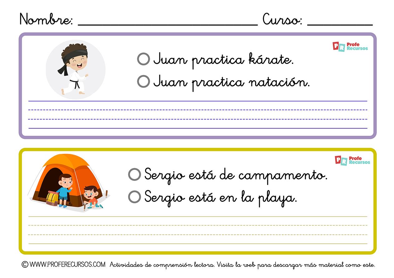Comprensión lectora para primaria