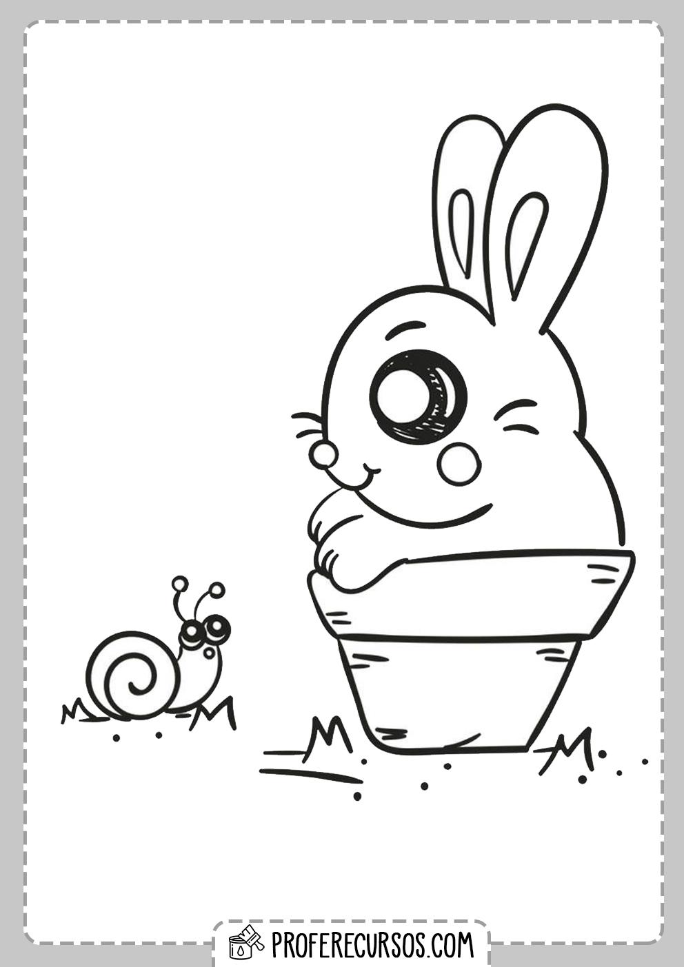 Dibujo Conejo Kawaii Colorear