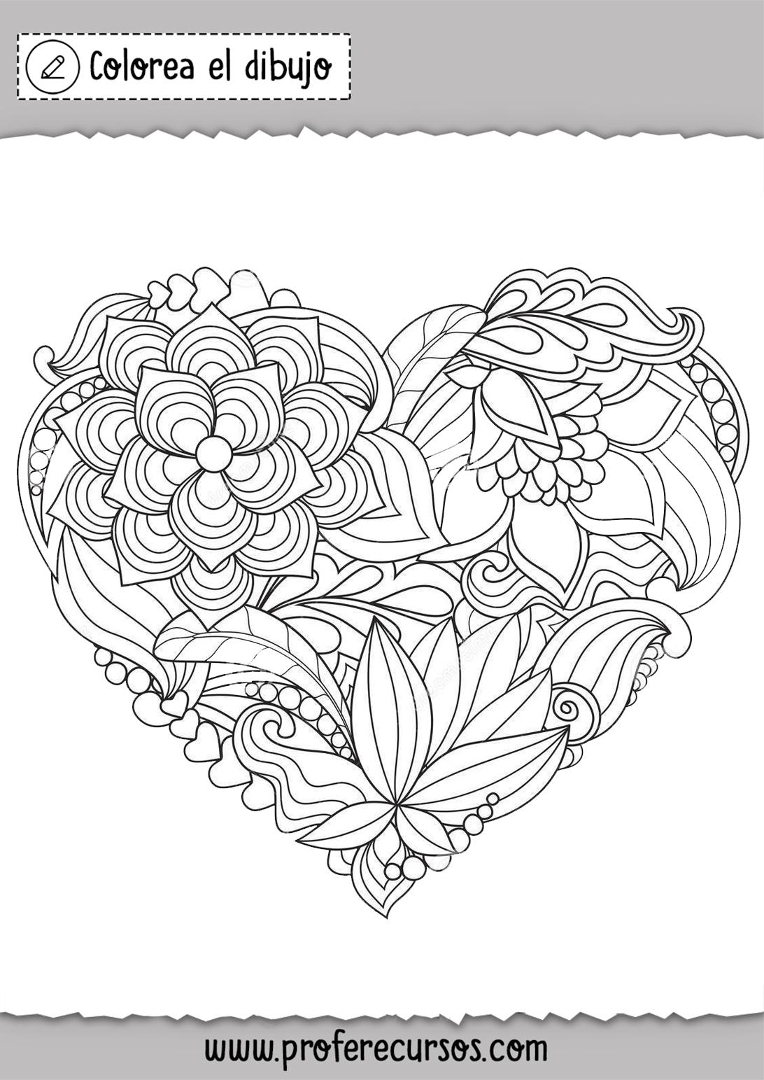 Dibujo Corazon de Flores para Colorear