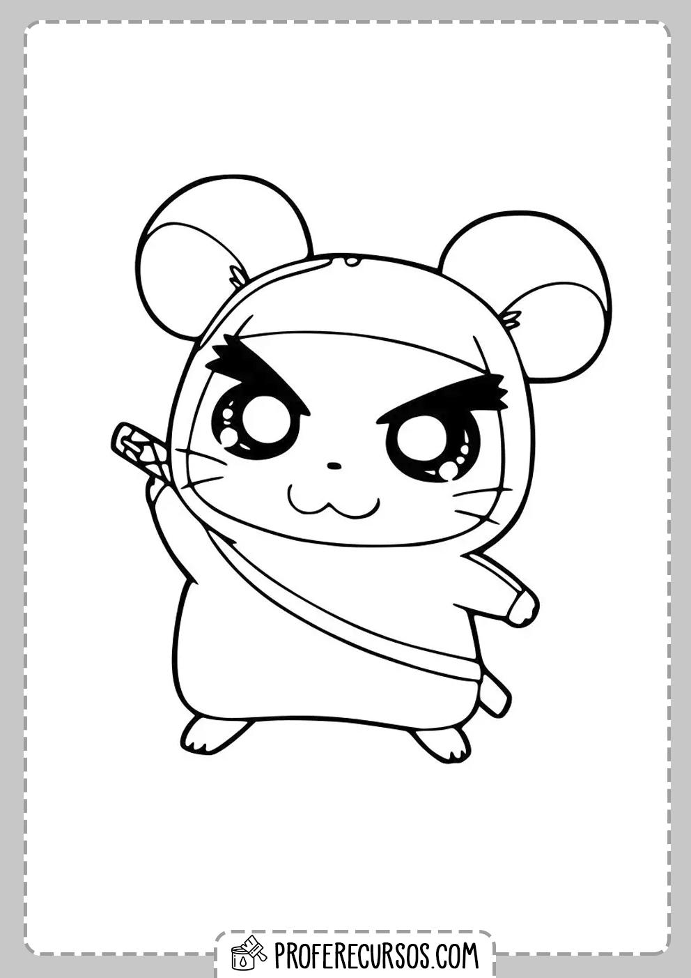 Dibujo Hamster Kawaii Colorear