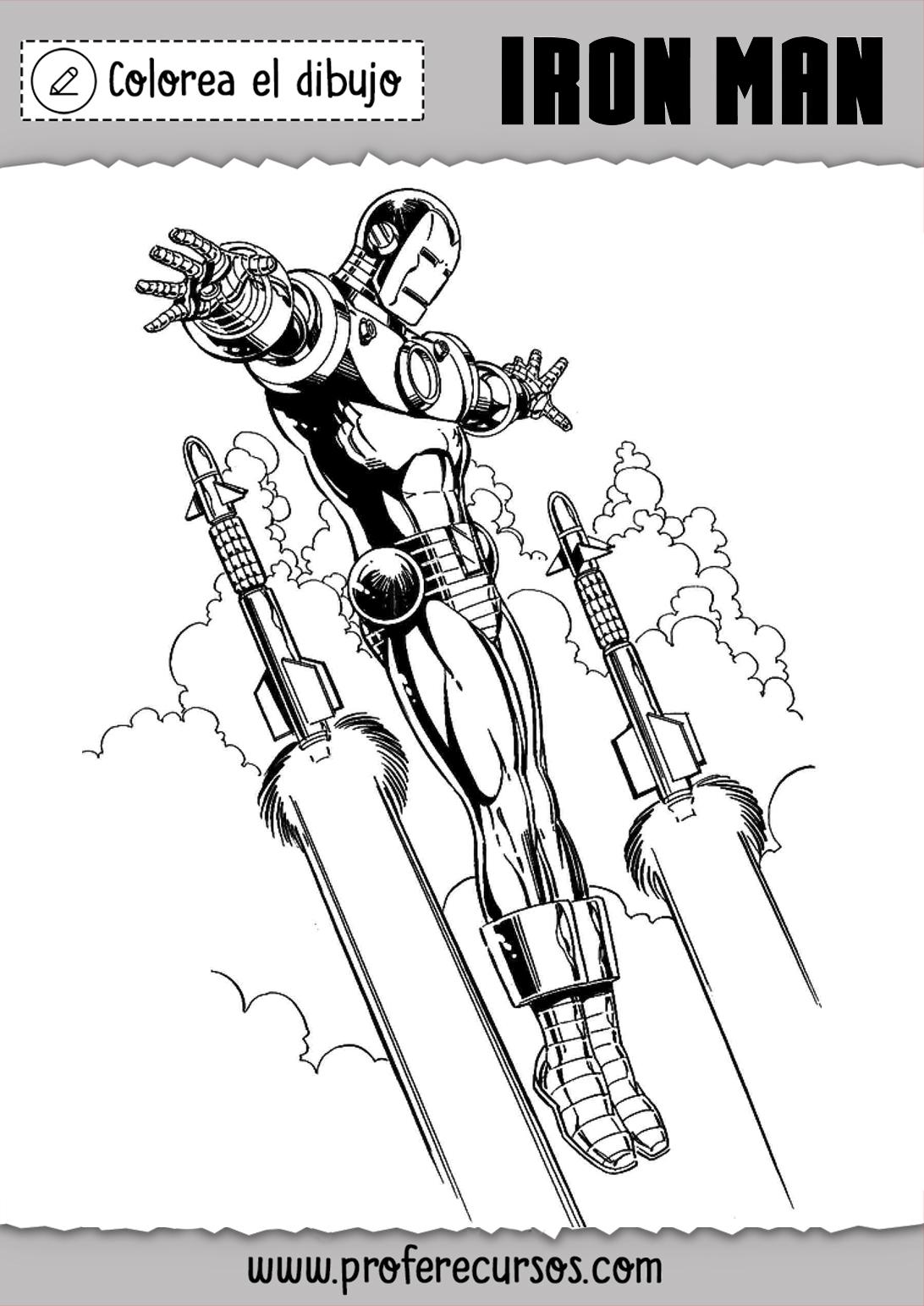 Dibujo Iron Man Volando Colorear