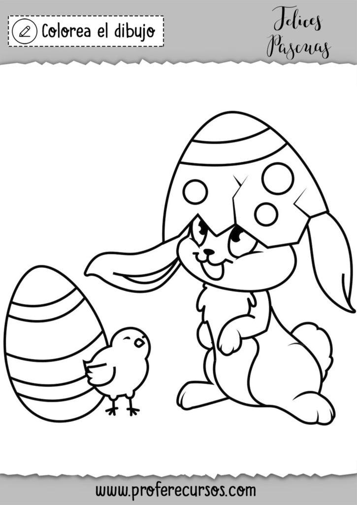 Dibujo conejo pascua para niños para colorear