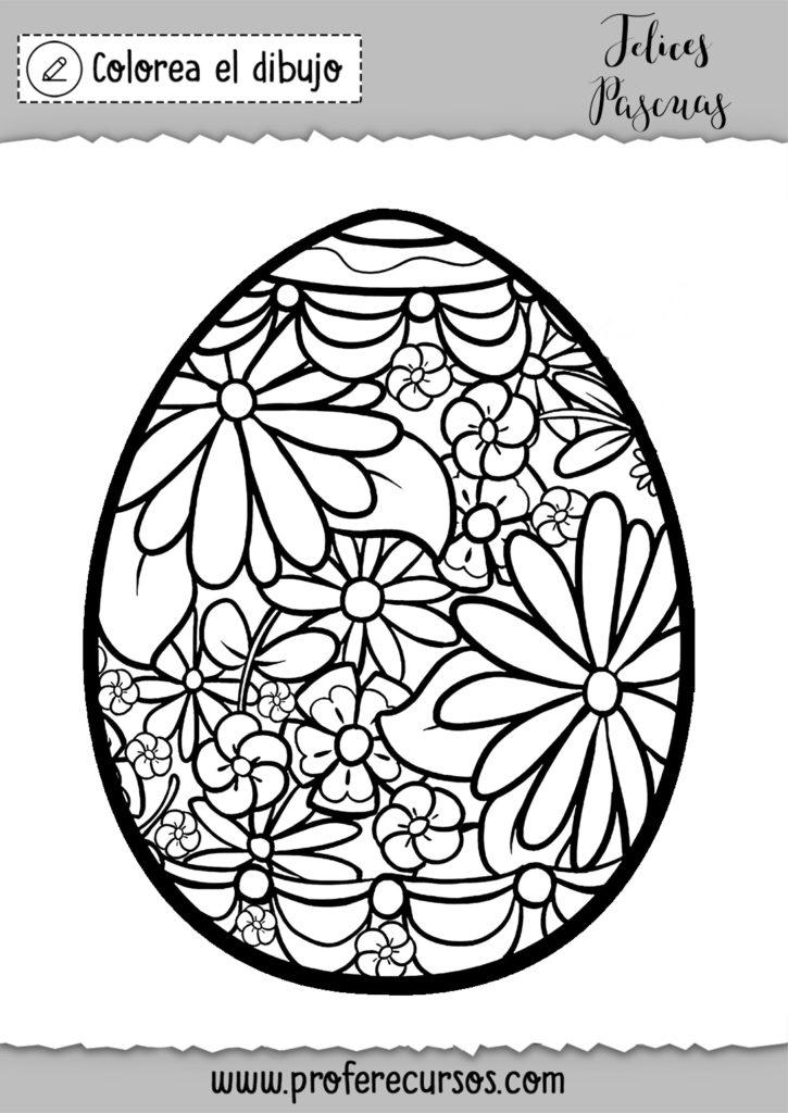 Dibujo huevo pascua para colorear