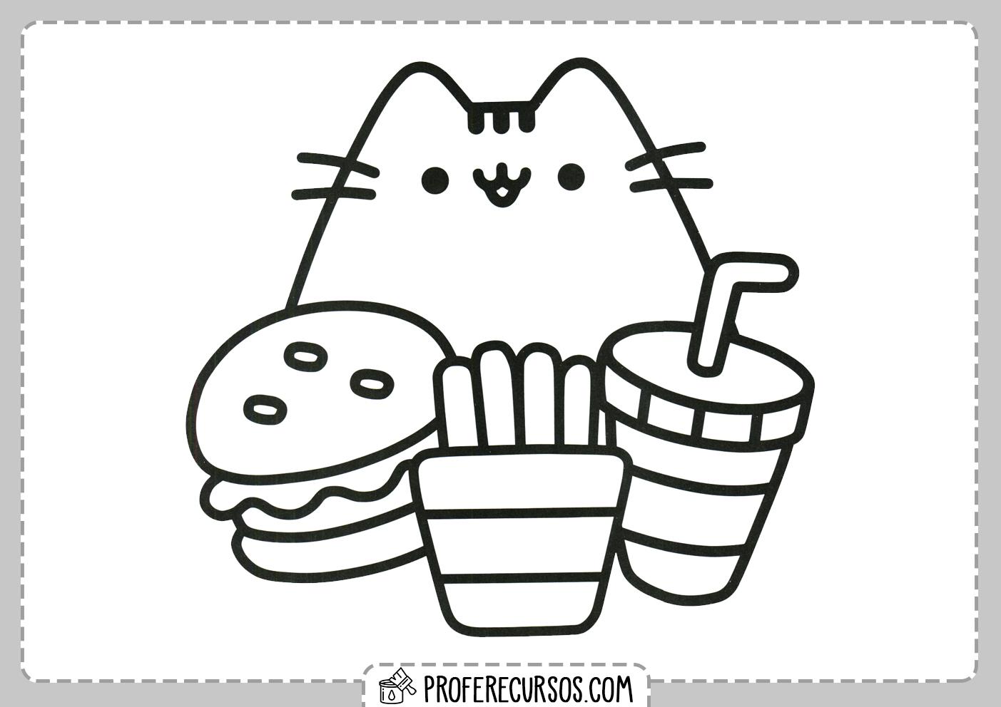 Dibujos Kawaii Gatos Para Colorear