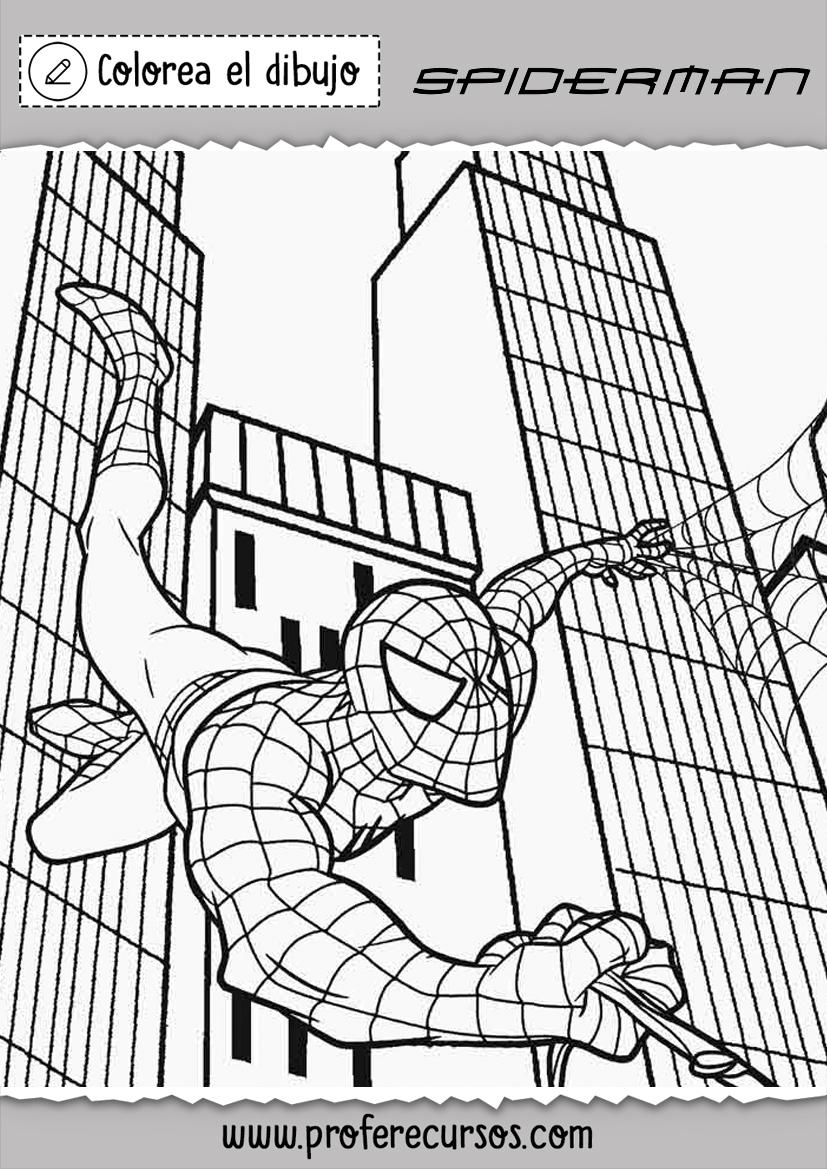 Dibujos Spiderman Saltando para Colorear