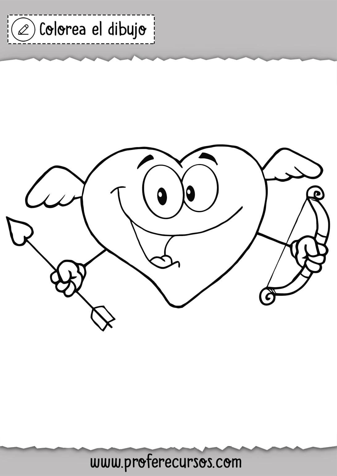 Dibujos de Corazon con arco y flecha para colorear
