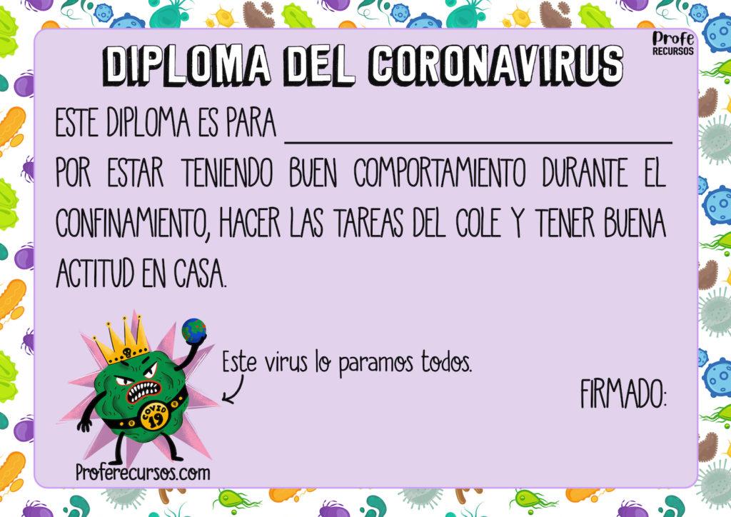 Diploma del coronavirus para niños