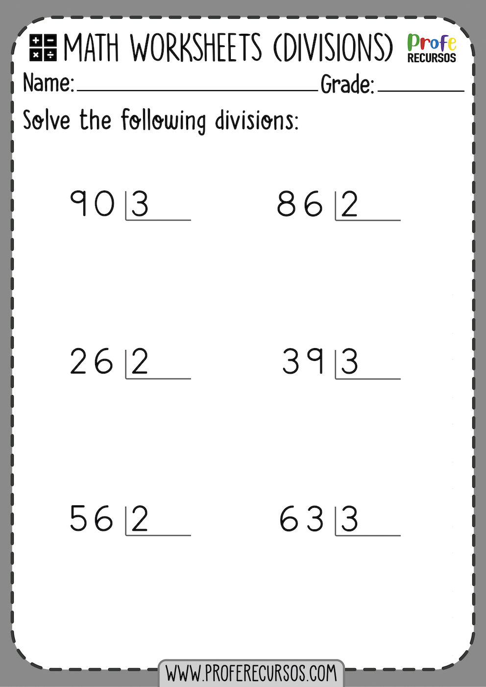 Division Worksheets Whitout Remainders