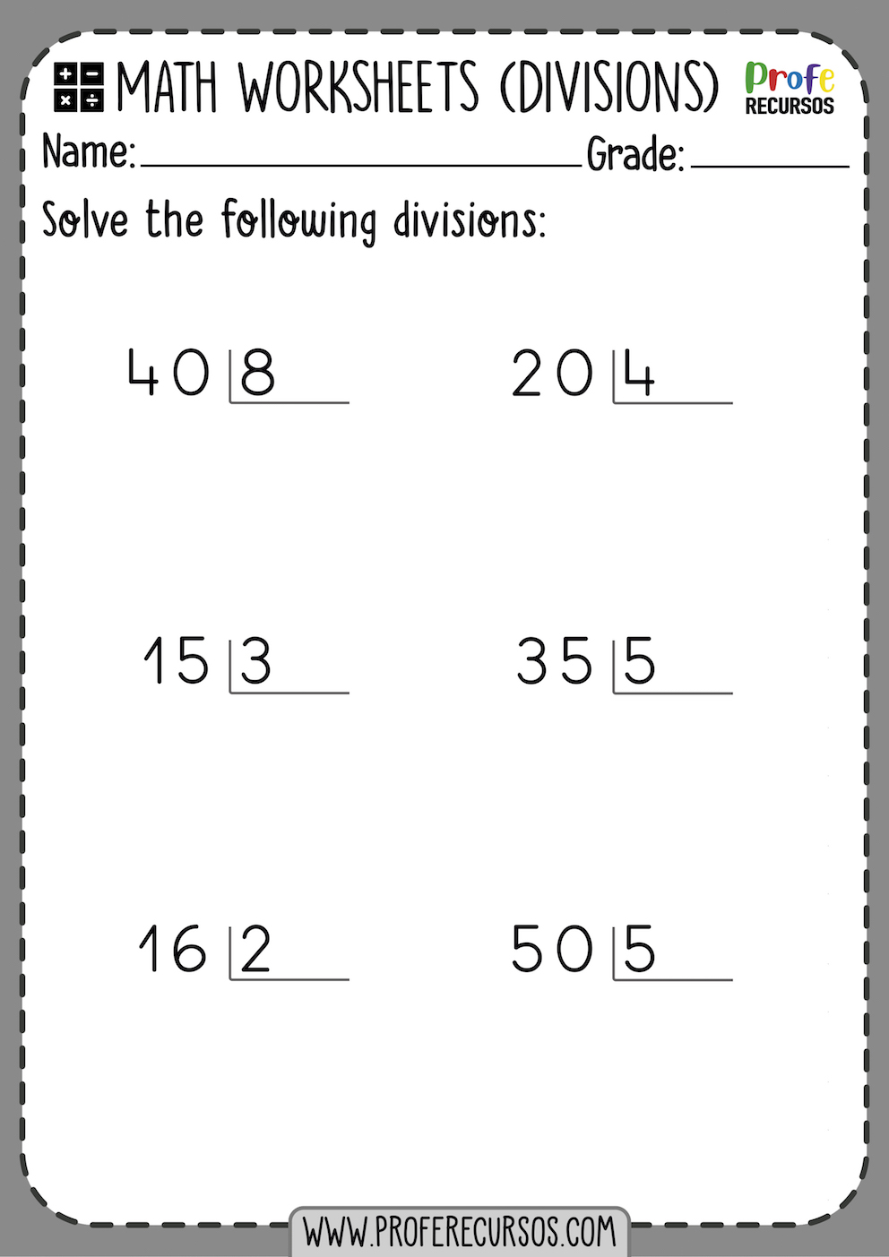 Division Worksheets for 3rd Grade