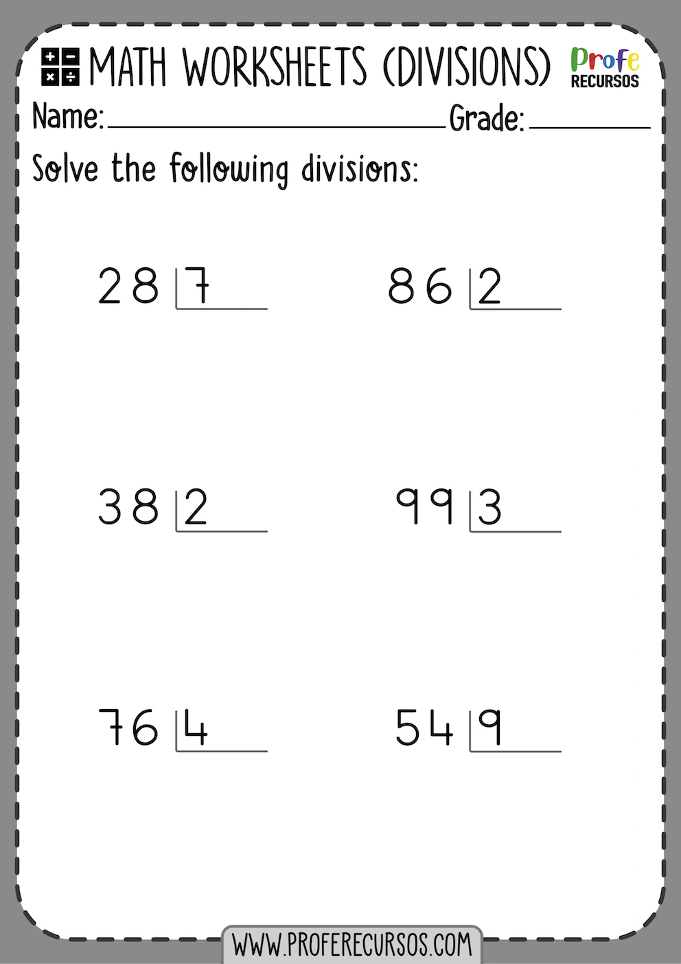 Division Worksheets for Grade 1