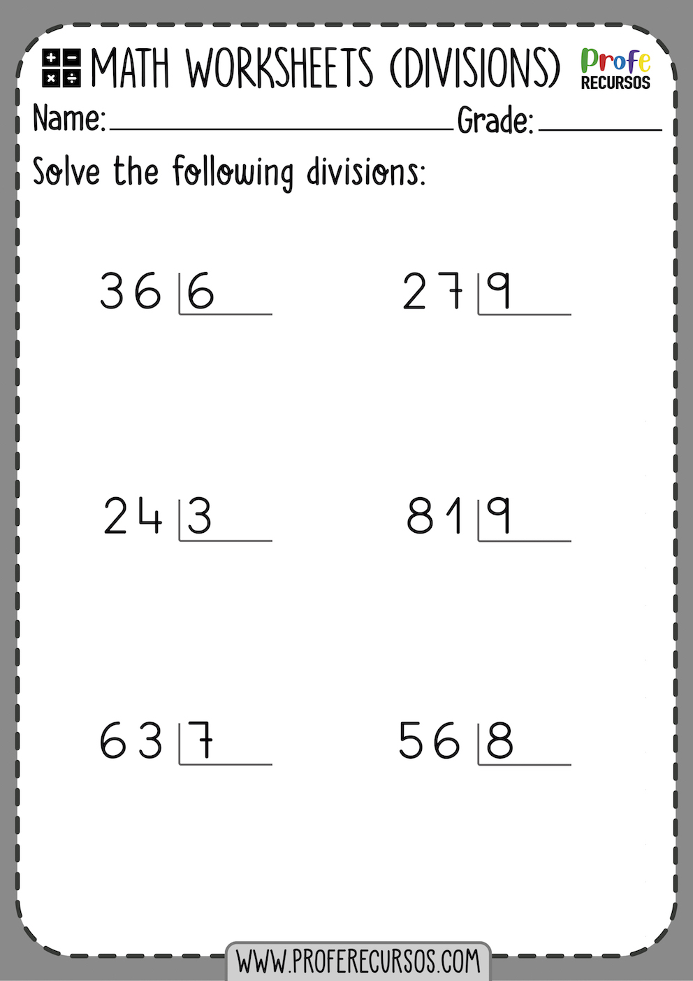 Division Worksheets for Grade 2 No remainders