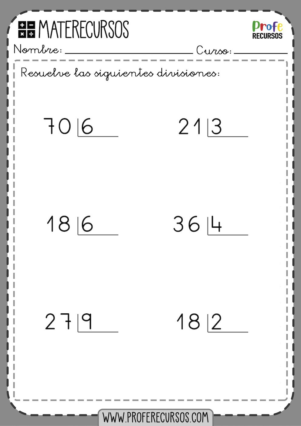 Divisiones de 1 cifra exactas