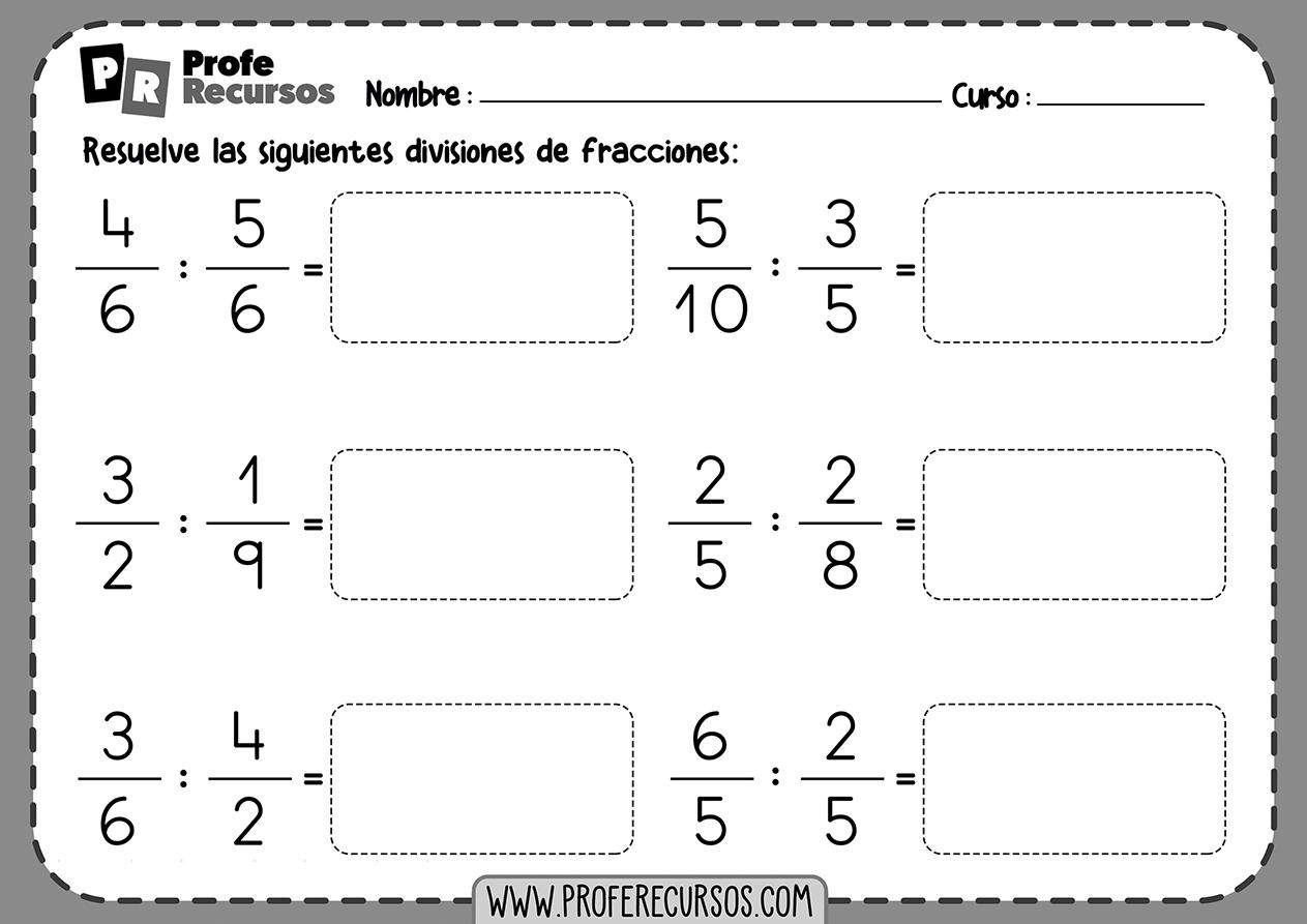 Divisiones de fracciones para imprimir