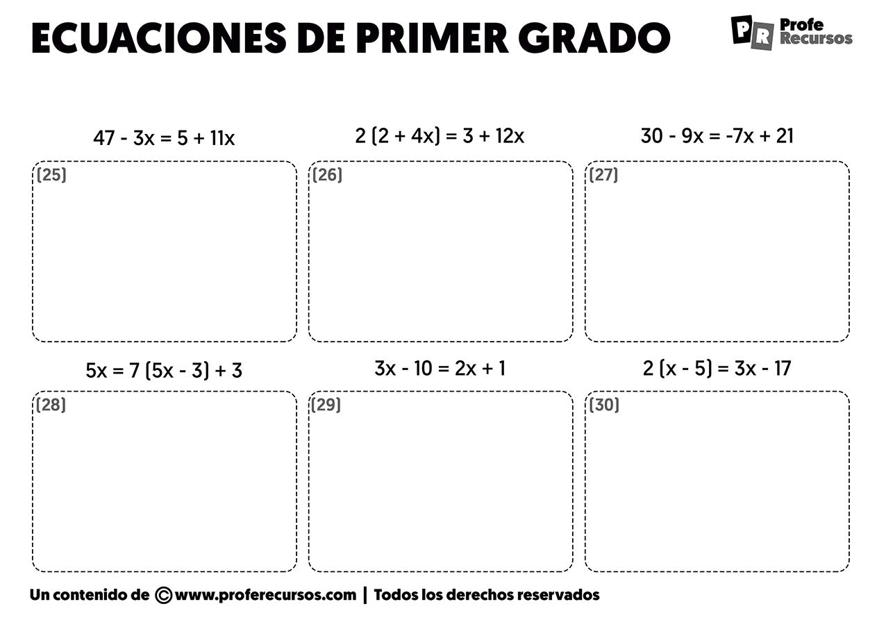 Ecuaciones de primer grado con parentesis