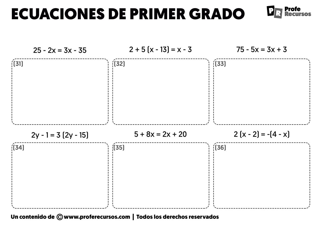 Ecuaciones de primer grado para resolver