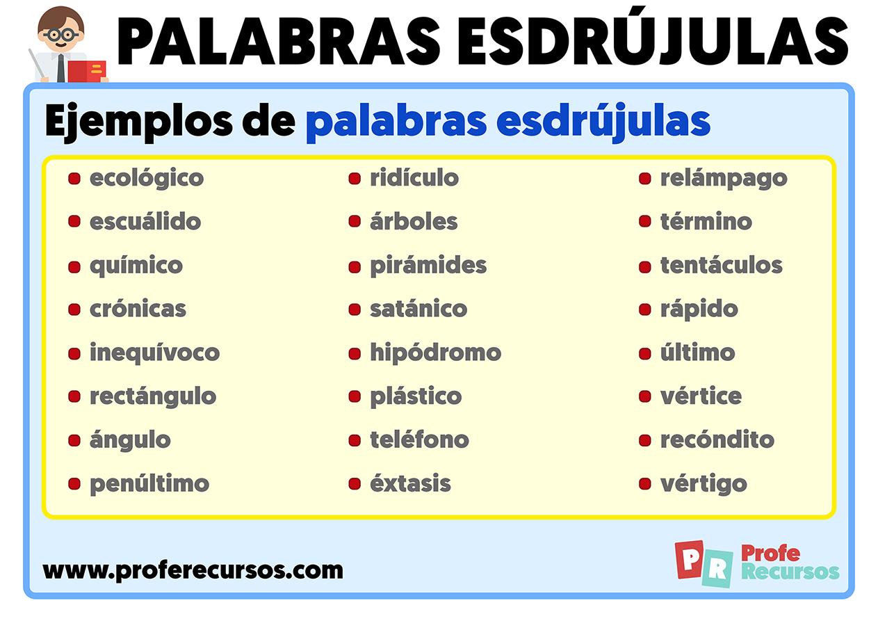 Ejemplos de palabras esdrujulas con tilde