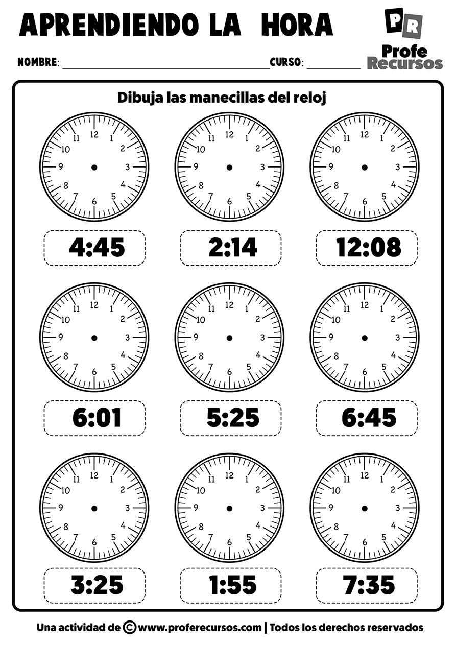 Ejercicios actividades reloj analogico sin manecillas