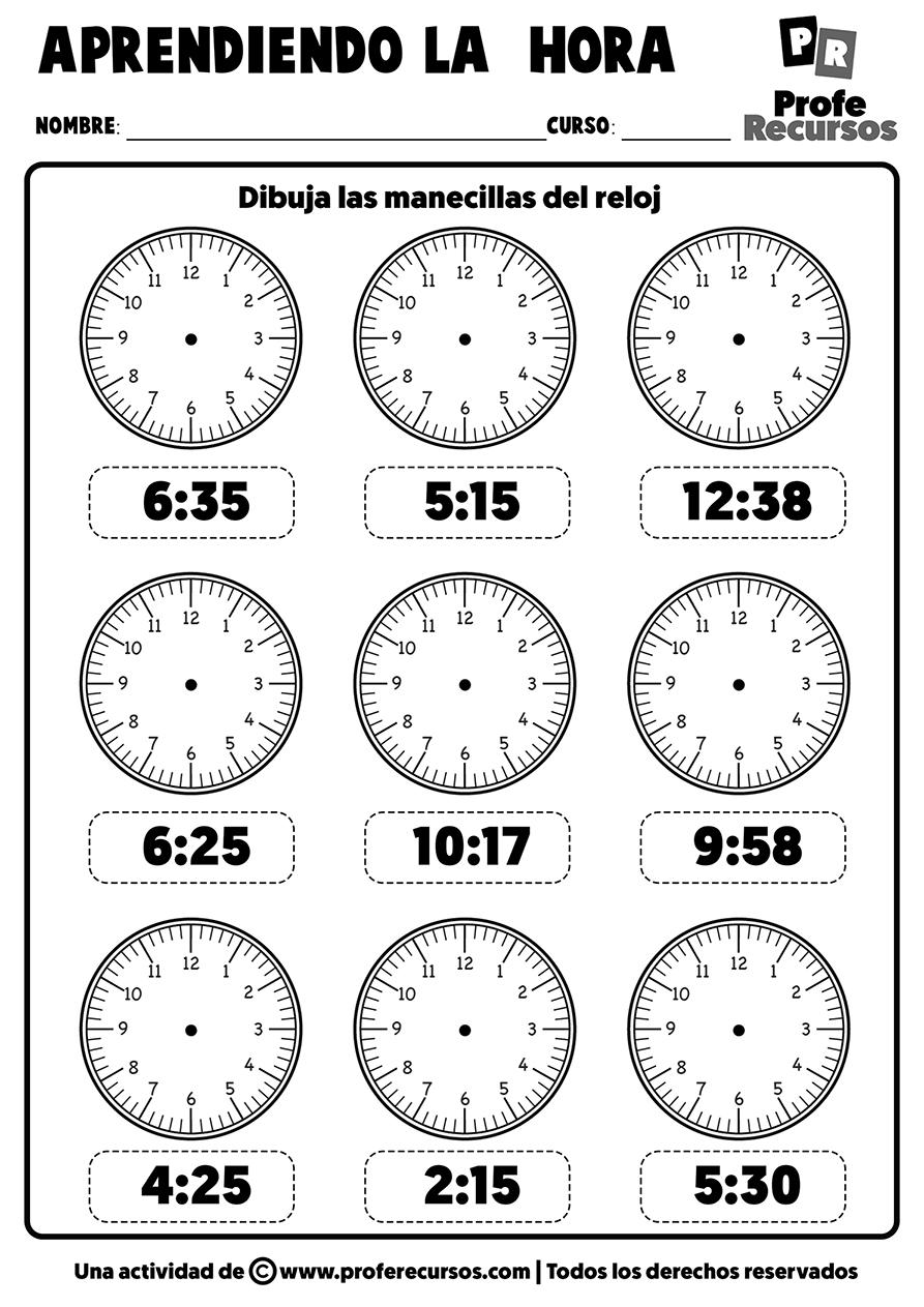 Ejercicios reloj analogico manecillas