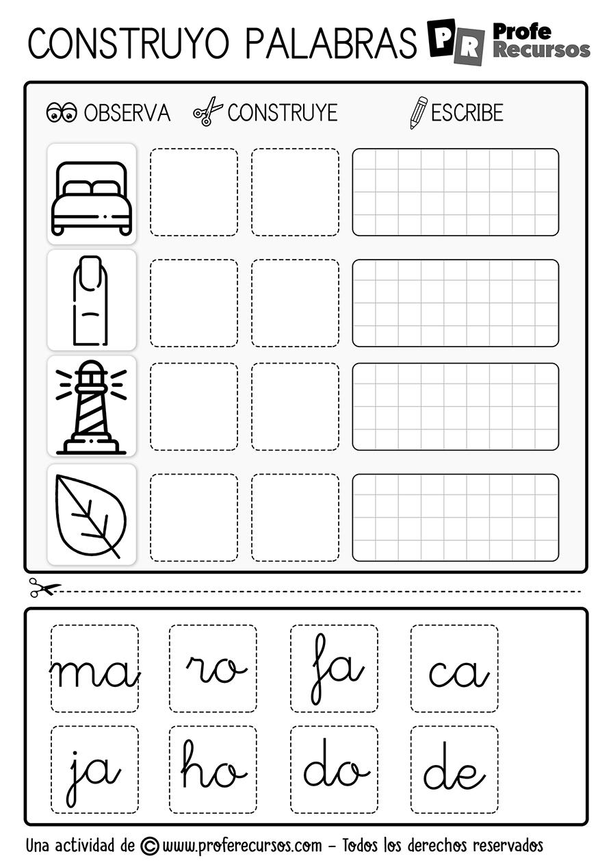 Ejercicios con silabas para niños