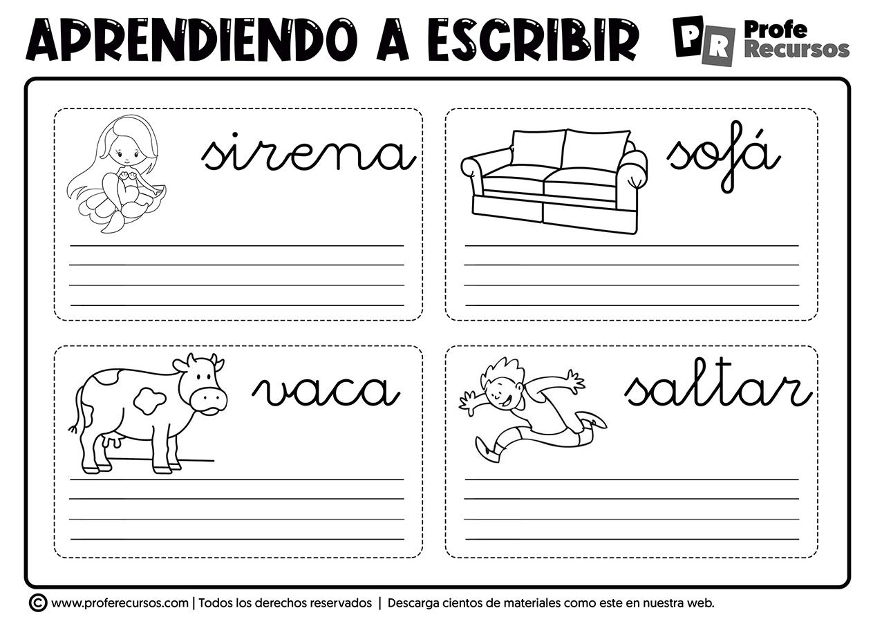 Ejercicios de escritura para niños