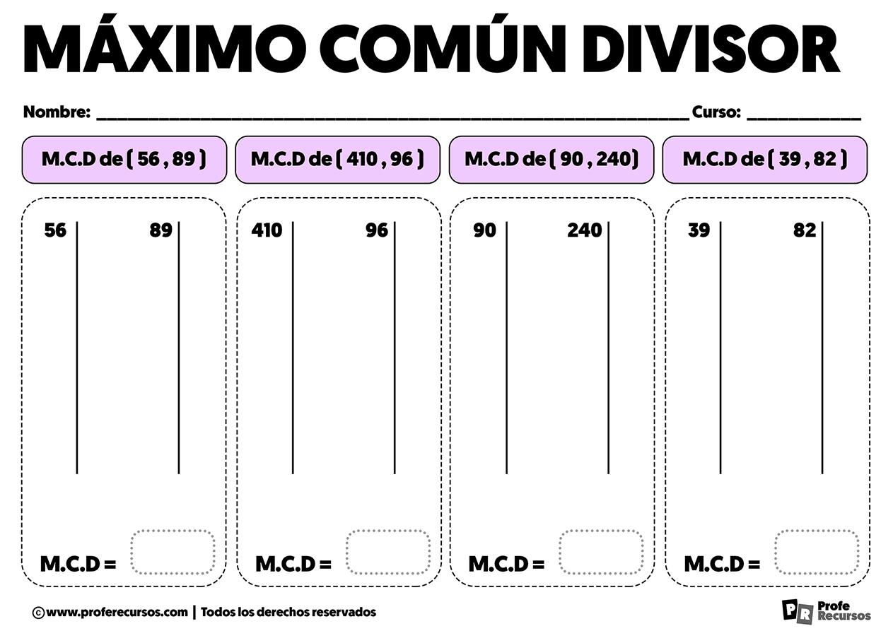 Ejercicios de mcd maximo comun divisor para imprimir