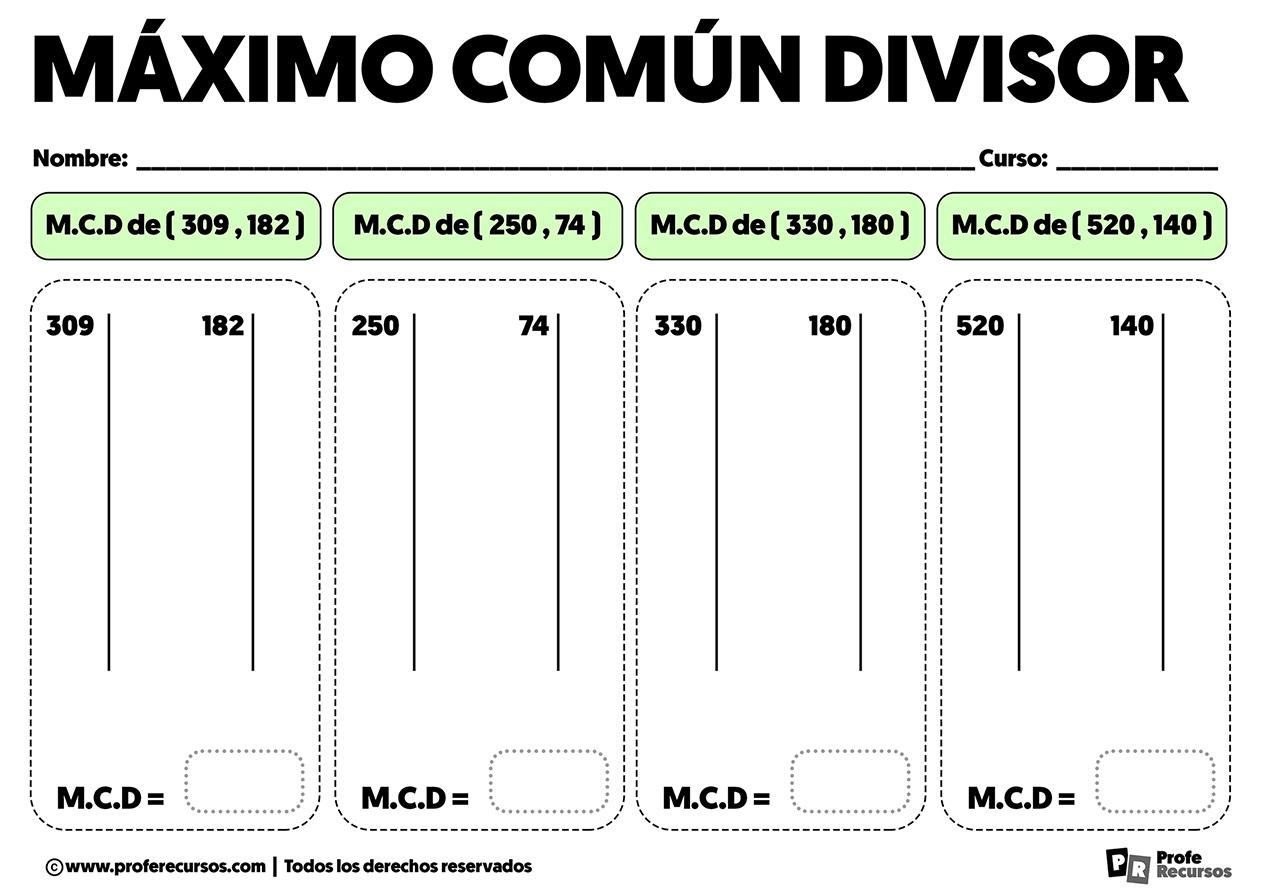 Ejercicios de maximo comun divisor para primaria