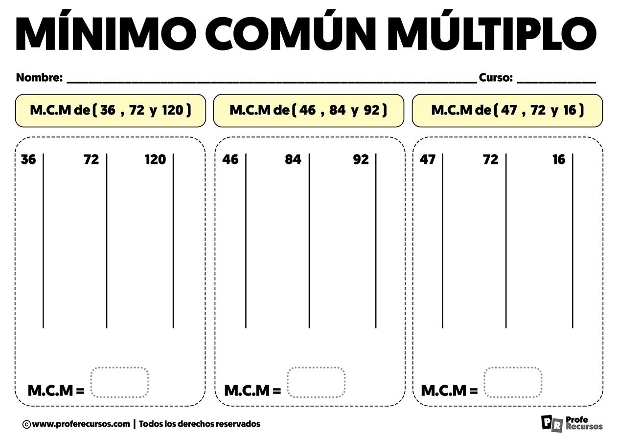Ejercicios de minimo comun multiplo de 3 numeros