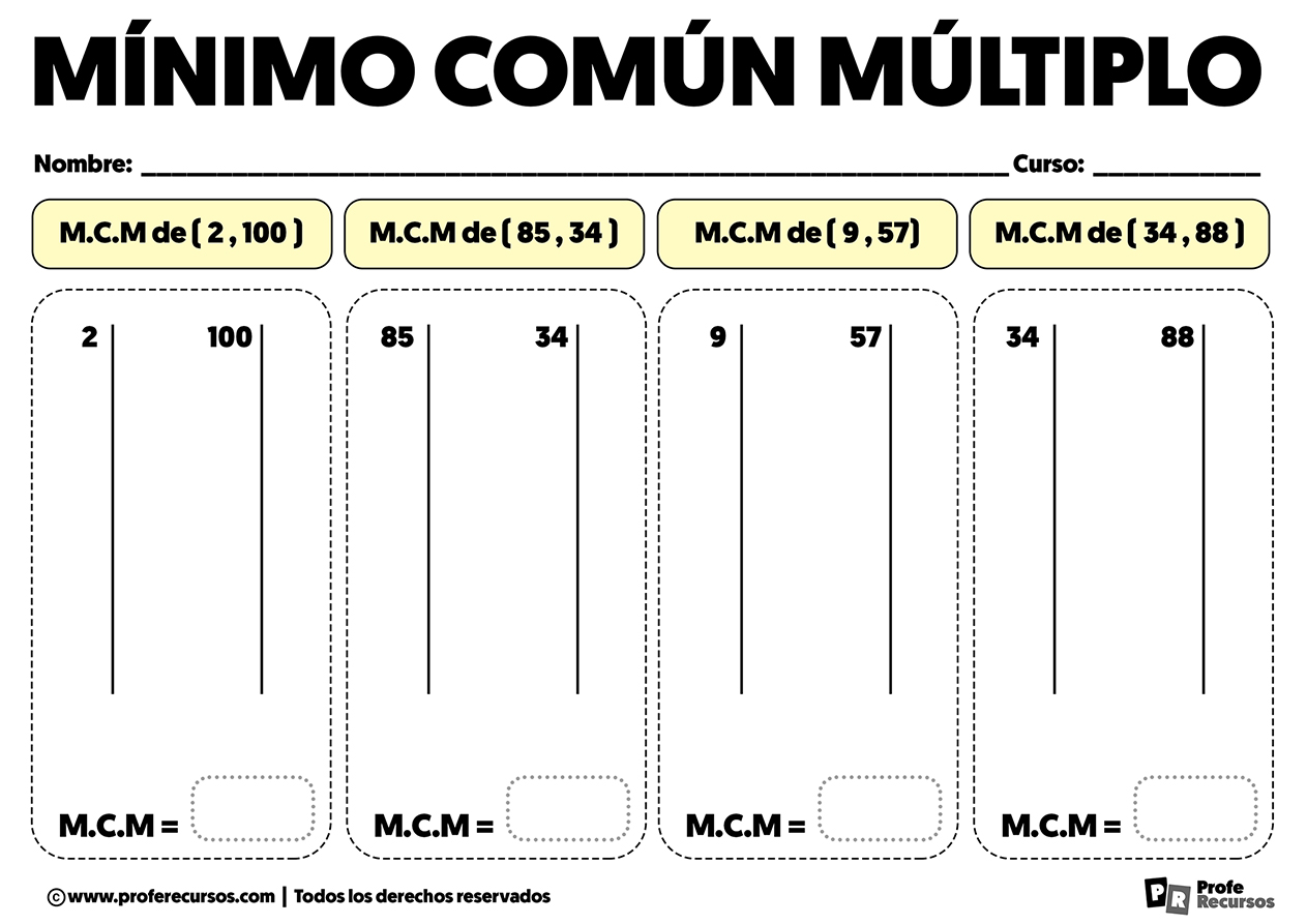 Ejercicios de minimo comun multiplo