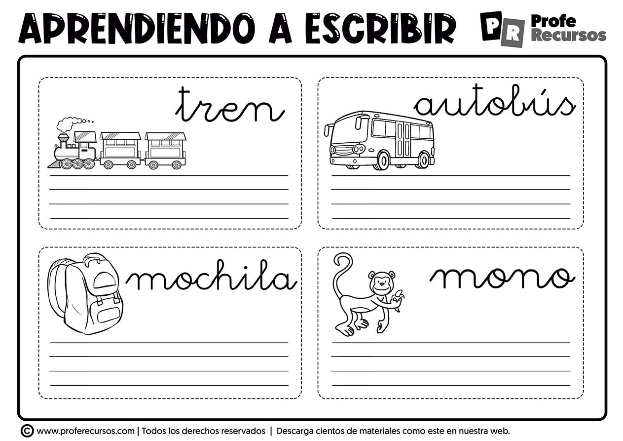 Escribir palabras para niños