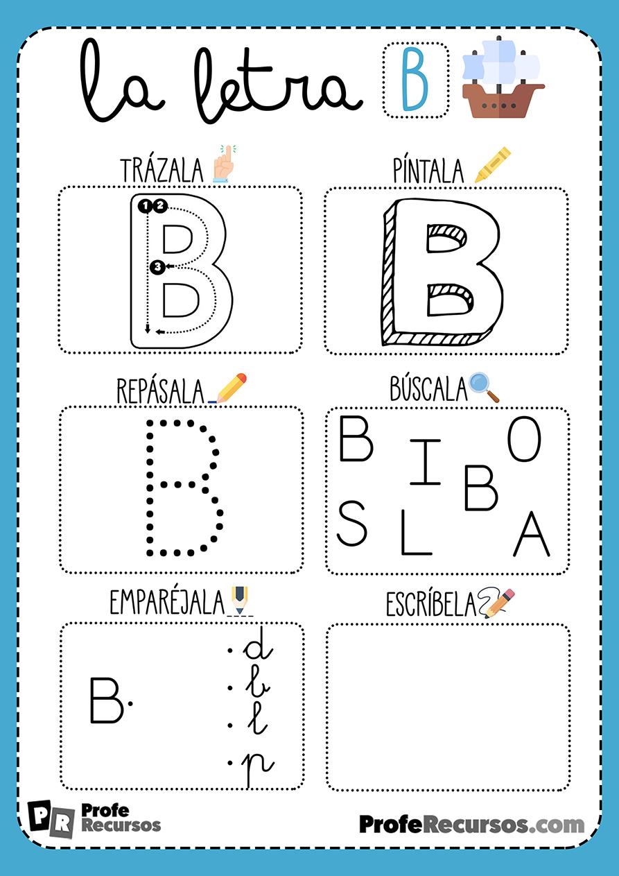 Ficha lectoescritura letra b