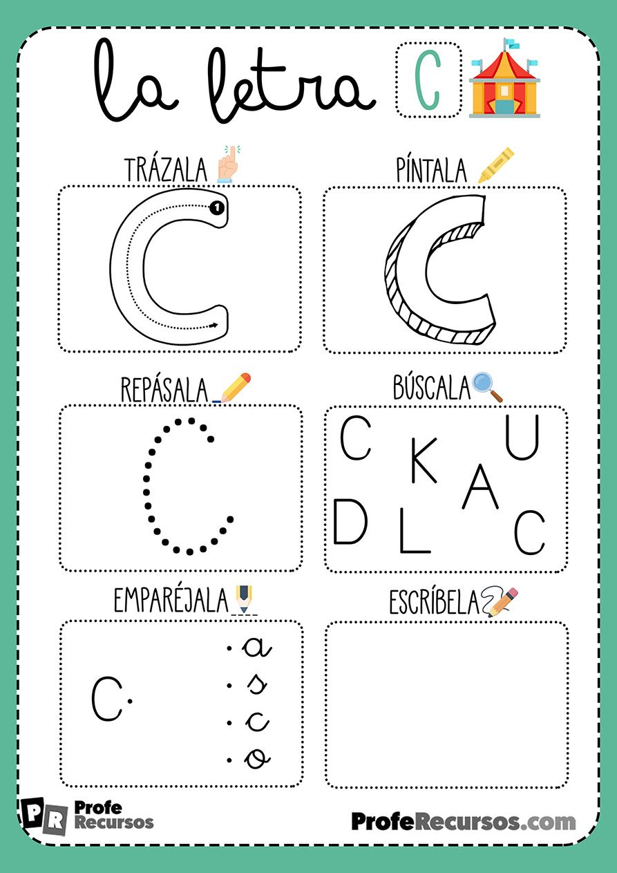 Ficha lectoescritura letra c