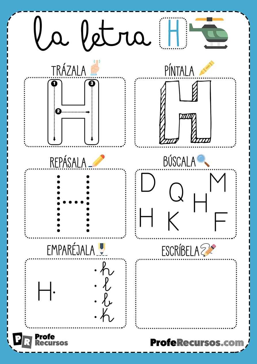 Ficha lectoescritura letra h