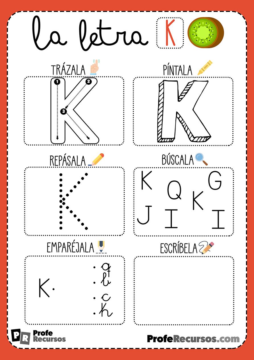 Ficha lectoescritura letra k