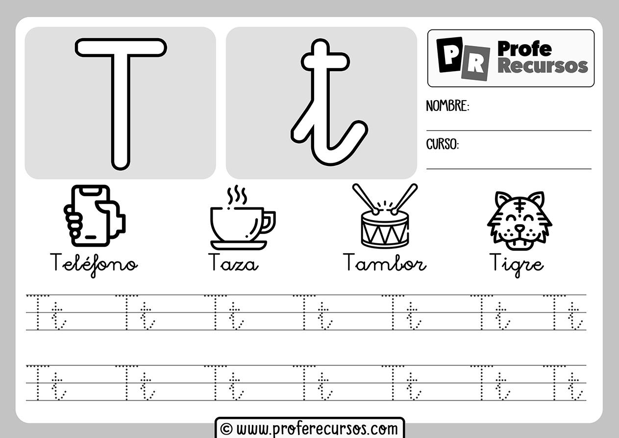 Ficha aprender letra t
