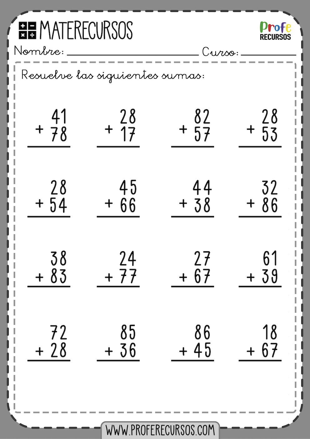 Fichas Ejercicios Sumas 2 cifras con Llevadas