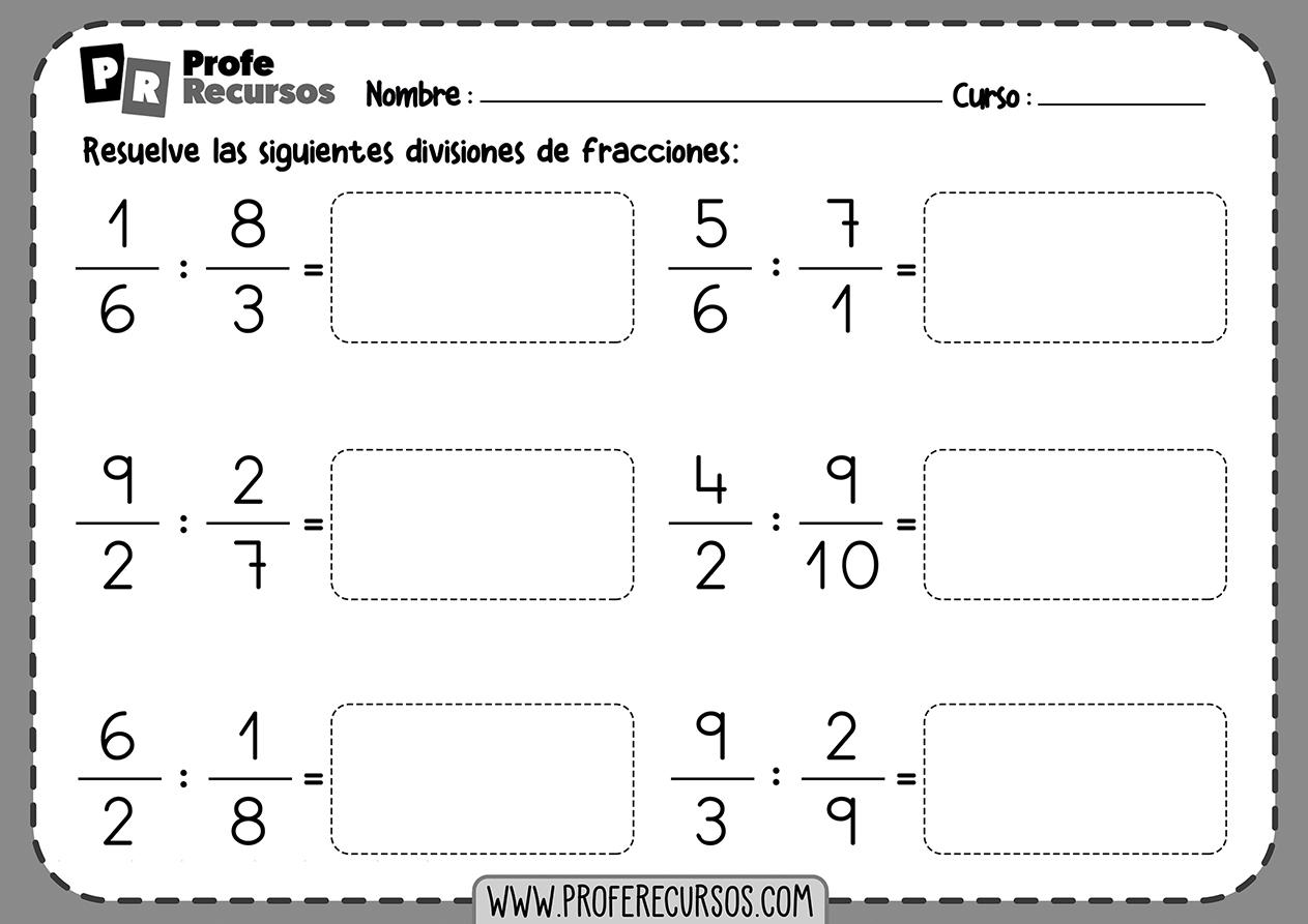 Fichas de divisiones de fracciones