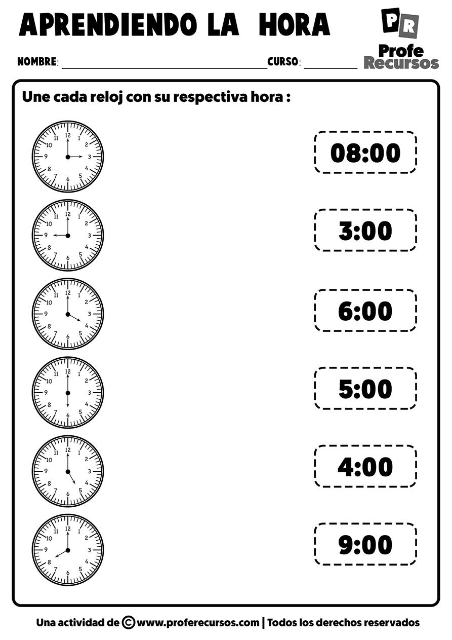 Fichas de la hora con relojes analogicos