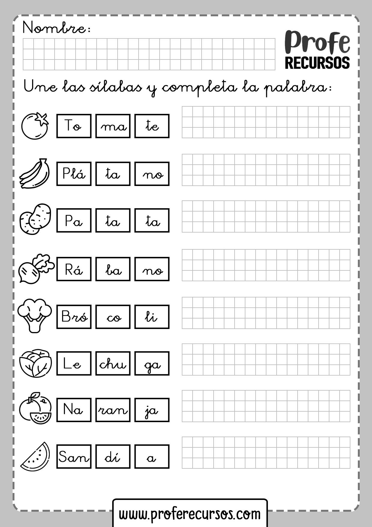 Fichas de Lectoescritura Aprender Silabas
