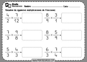 Fichas de multiplicaciones de fracciones