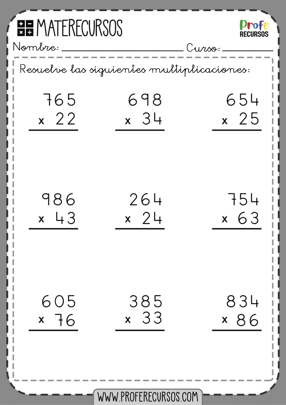 Fichas de Multiplicaciones para niños